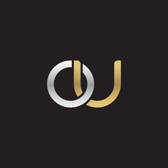 Initial lowercase letter ou, linked overlapping circle chain shape logo, silver gold colors on black background