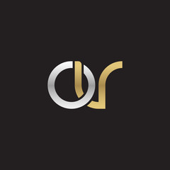 Initial lowercase letter ov, linked overlapping circle chain shape logo, silver gold colors on black background