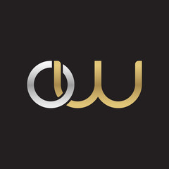 Initial lowercase letter ow, linked overlapping circle chain shape logo, silver gold colors on black background