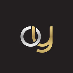 Initial lowercase letter oy, linked overlapping circle chain shape logo, silver gold colors on black background