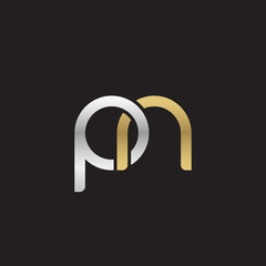 Initial lowercase letter pn, linked overlapping circle chain shape logo, silver gold colors on black background