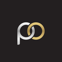 Initial lowercase letter po, linked overlapping circle chain shape logo, silver gold colors on black background