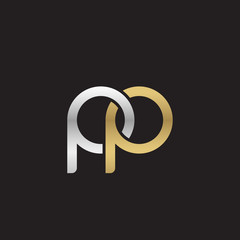 Initial lowercase letter pp, linked overlapping circle chain shape logo, silver gold colors on black background