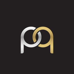 Initial lowercase letter pq, linked overlapping circle chain shape logo, silver gold colors on black background