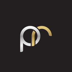 Initial lowercase letter pr, linked overlapping circle chain shape logo, silver gold colors on black background