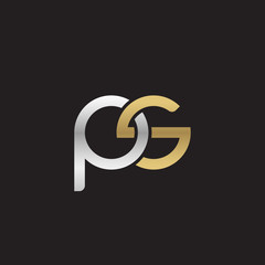Initial lowercase letter ps, linked overlapping circle chain shape logo, silver gold colors on black background