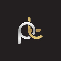 Initial lowercase letter pt, linked overlapping circle chain shape logo, silver gold colors on black background