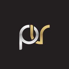 Initial lowercase letter pv, linked overlapping circle chain shape logo, silver gold colors on black background