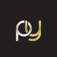 Initial lowercase letter py, linked overlapping circle chain shape logo, silver gold colors on black background