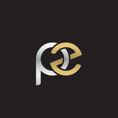 Initial lowercase letter pz, linked overlapping circle chain shape logo, silver gold colors on black background