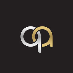 Initial lowercase letter qa, linked overlapping circle chain shape logo, silver gold colors on black background