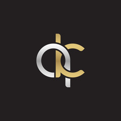Initial lowercase letter qk, linked overlapping circle chain shape logo, silver gold colors on black background