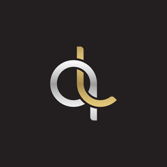 Initial lowercase letter ql, linked overlapping circle chain shape logo, silver gold colors on black background