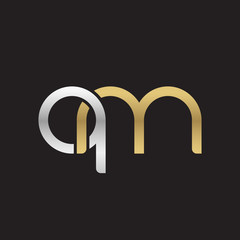 Initial lowercase letter qm, linked overlapping circle chain shape logo, silver gold colors on black background