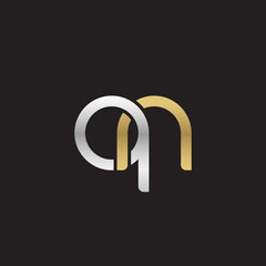 Initial lowercase letter qn, linked overlapping circle chain shape logo, silver gold colors on black background