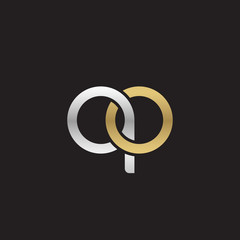 Initial lowercase letter qo, linked overlapping circle chain shape logo, silver gold colors on black background
