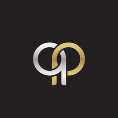 Initial lowercase letter qp, linked overlapping circle chain shape logo, silver gold colors on black background
