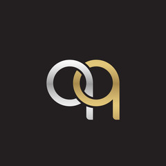 Initial lowercase letter qq, linked overlapping circle chain shape logo, silver gold colors on black background