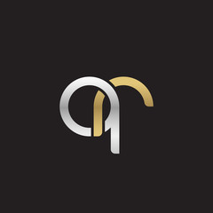 Initial lowercase letter qr, linked overlapping circle chain shape logo, silver gold colors on black background