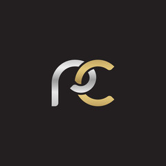 Initial lowercase letter rc, linked overlapping circle chain shape logo, silver gold colors on black background