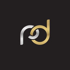 Initial lowercase letter rd, linked overlapping circle chain shape logo, silver gold colors on black background