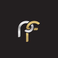 Initial lowercase letter rf, linked overlapping circle chain shape logo, silver gold colors on black background