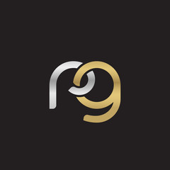 Initial lowercase letter rg, linked overlapping circle chain shape logo, silver gold colors on black background