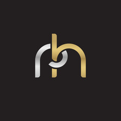 Initial lowercase letter rh, linked overlapping circle chain shape logo, silver gold colors on black background