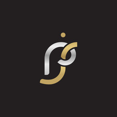 Initial lowercase letter rj, linked overlapping circle chain shape logo, silver gold colors on black background