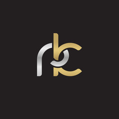 Initial lowercase letter rk, linked overlapping circle chain shape logo, silver gold colors on black background