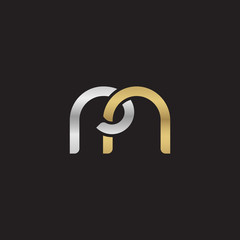 Initial lowercase letter rn, linked overlapping circle chain shape logo, silver gold colors on black background