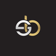 Initial lowercase letter sb, linked overlapping circle chain shape logo, silver gold colors on black background