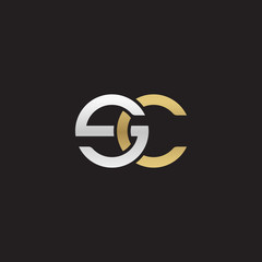Initial lowercase letter sc, linked overlapping circle chain shape logo, silver gold colors on black background