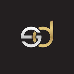 Initial lowercase letter sd, linked overlapping circle chain shape logo, silver gold colors on black background