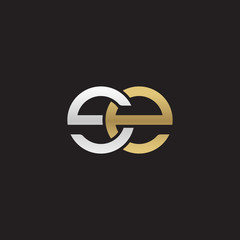 Initial lowercase letter se, linked overlapping circle chain shape logo, silver gold colors on black background