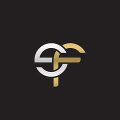 Initial lowercase letter sf, linked overlapping circle chain shape logo, silver gold colors on black background