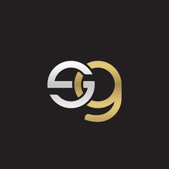 Initial lowercase letter sg, linked overlapping circle chain shape logo, silver gold colors on black background