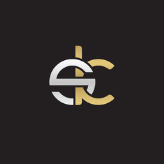 Initial lowercase letter sk, linked overlapping circle chain shape logo, silver gold colors on black background