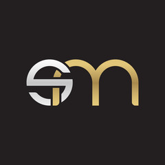 Initial lowercase letter sm, linked overlapping circle chain shape logo, silver gold colors on black background
