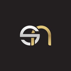 Initial lowercase letter sn, linked overlapping circle chain shape logo, silver gold colors on black background