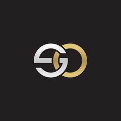 Initial lowercase letter so, linked overlapping circle chain shape logo, silver gold colors on black background