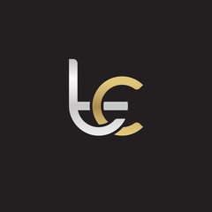 Initial lowercase letter tc, linked overlapping circle chain shape logo, silver gold colors on black background