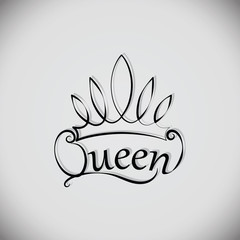 Queen and the crown. Emblem, logo, badge. drawing. The element of graphic design, printing on t-shirts. Vector images for printing on fabric or paper.