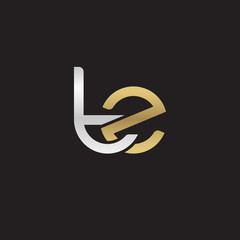 Initial lowercase letter tz, linked overlapping circle chain shape logo, silver gold colors on black background