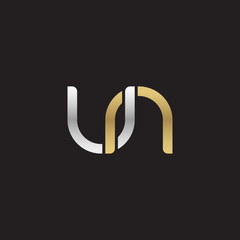 Initial lowercase letter un, linked overlapping circle chain shape logo, silver gold colors on black background