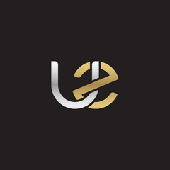Initial lowercase letter uz, linked overlapping circle chain shape logo, silver gold colors on black background