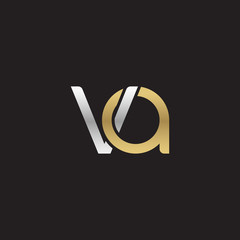 Initial lowercase letter va, linked overlapping circle chain shape logo, silver gold colors on black background