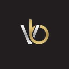 Initial lowercase letter vb, linked overlapping circle chain shape logo, silver gold colors on black background