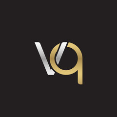 Initial lowercase letter vq, linked overlapping circle chain shape logo, silver gold colors on black background