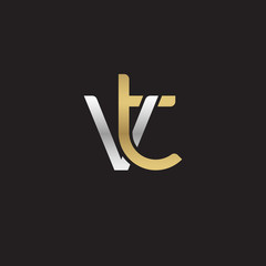 Initial lowercase letter vt, linked overlapping circle chain shape logo, silver gold colors on black background